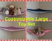 Customized Large Toy Net, You pick the colors (Black, pink, yellow, navy, blue, light, dark, red, brown, grommet, eyelet, strong)