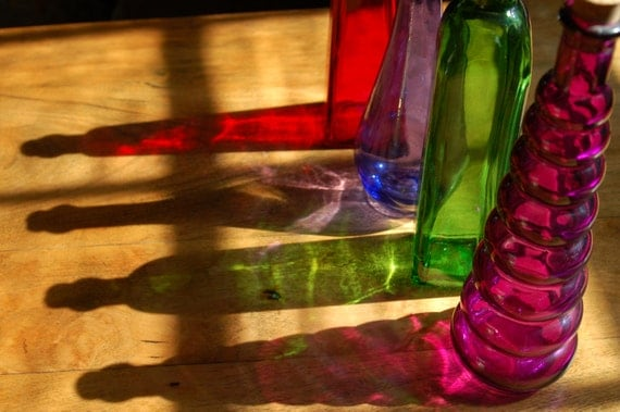 Set of 4 colored glass bottles with corks by for Colored glass bottles with corks