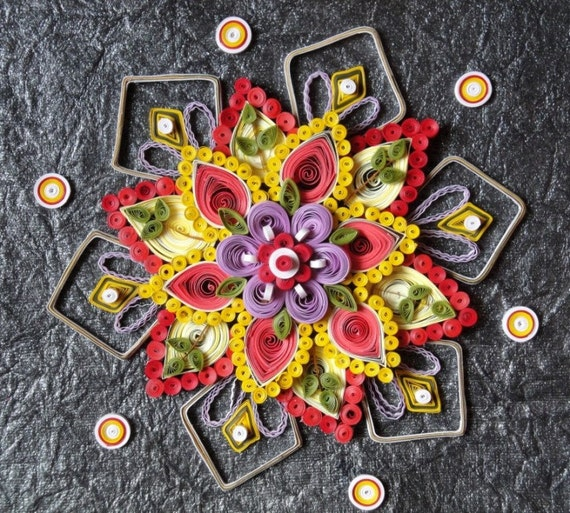 Items similar to paper quilled flower design home decor for Decoration quilling