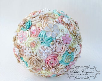 Brooch bouquet.Ivory and Champagne,mint and pink wedding brooch bouquet, Jeweled Bouquet.