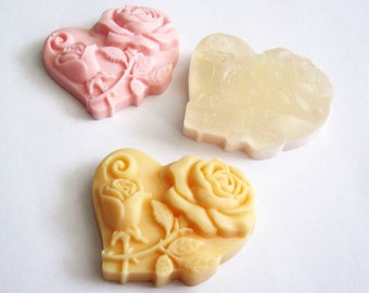 10 Heart Soap Favors - Any occasion - Wedding Birthday Baby Anniversary Party - Handmade Glycerin - Select your color and scent