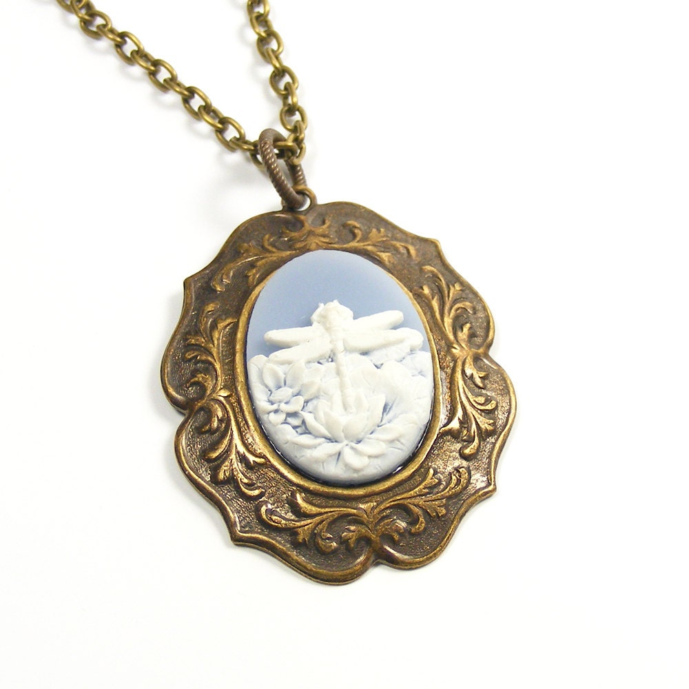 Dragonfly Necklace, Wedgwood Blue White Dragonfly Pendant, Vintage Inspired Blue Dragonfly Cameo Pendant
