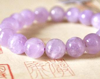 Genuine Pink Kunzite Bracelet 10MM AA Grade, Natural Pink Kunzite Round Beads, Genuine Kunzite Gemstone Beads