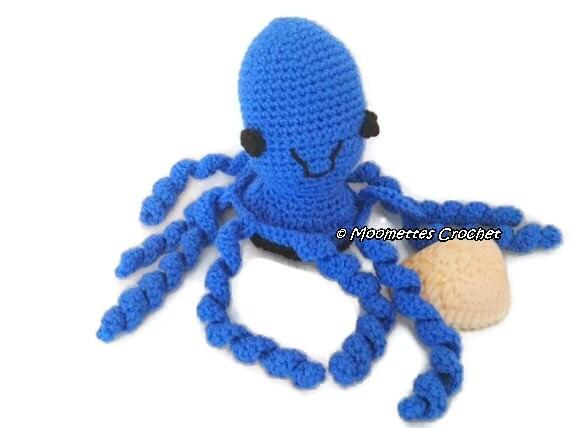 Octopus Amigurumi Plush : Items similar to Large Amigurumi Blue Octopus Crocheted ...