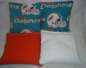 8 ACA Regulation Cornhole Bags - 8 handmade from Miami Dolphins Fabric