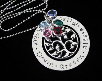 Family Tree Hand stamped personalized name pendant  necklace with Swarovski Birthstones and tree charm - Mothers necklace - family necklace