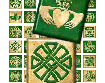 Celtic Green & Gold Digital Collage Sheet - 1 inch squares inchies Instant Download - for pendants magnets 2106