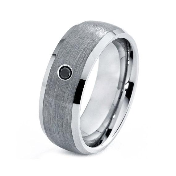 Mens Titanium Wedding Band Ring 8mm Black Diamond Brushed 316 Sizes