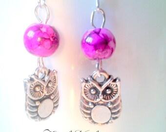 Owls and purple gemstone agate earrings