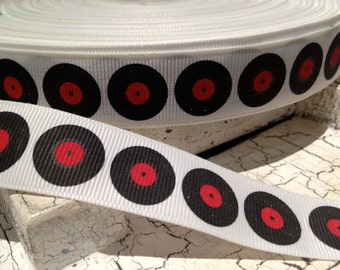 """7/8""""  3 yards Music Album Record Themed Grosgrain Ribbon sold by the yard"""