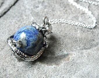 Blue Dragon Necklace, Sodalite Necklace, Blue Necklace, Fantasy Necklace, Chinese Dragon Necklace, Pendant Necklace