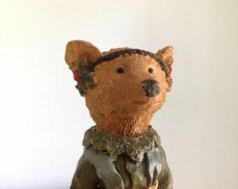 Vintage Christmas Bear Figurine Tall Pencil Bear Statue Vintage Bear Home Decor