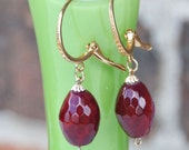 Ruby druzy gemstone set of Earrings and pendant, Gold filled 22 carats,Earrings,Pendant