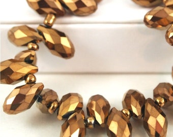 Chinese Crystal Briolette 6X12mm-10 pieces-Metallic Bronze (MWBRB)