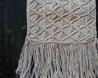 Ecru Vintage Bohemien Long Fring Woven Organic Handbag