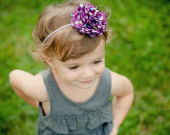 Purple spotted satin flower headband