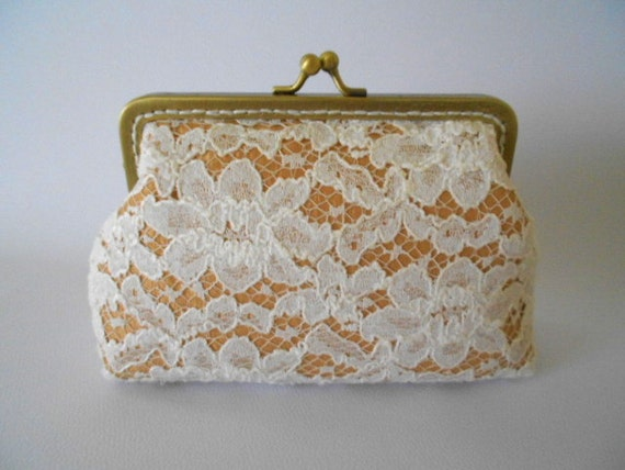 Golden ocher satin  and Ivory Lace Purse, Wedding Bridesmaid White Clutch with Kisslock