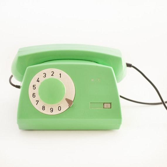 Mint pastel green rotary old school phone from 80's, rare color, rare retro treasure
