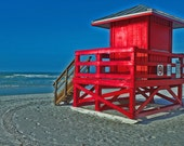Siesta Key Red Life Guard Hut Photograph - cmsriverpictures