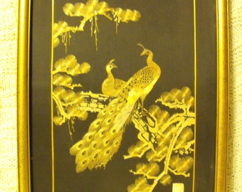 Vintage Chinese/Japanese hand cut wheat stalk cutting picture of  gold peacocks on black silk background signed by the Artist