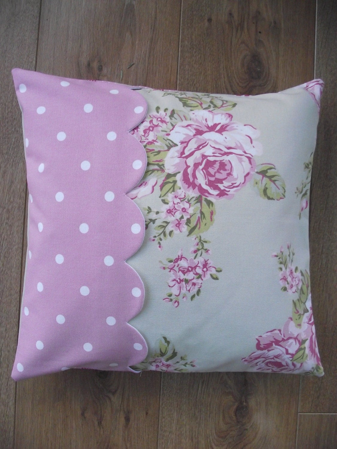 handmade cushion cover in flora dotty rose and by breifnecottage. Black Bedroom Furniture Sets. Home Design Ideas