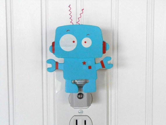 Robot night light boy room decor boy night by laurenannalei for Robot room decor