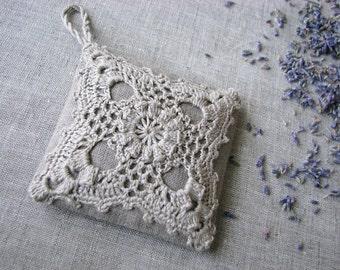 Linen lavender sachet- hanging decoration-  natural linen-  handmade -crochet- gift for her