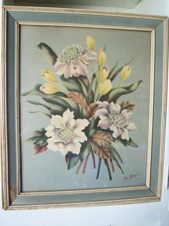 Vintage De Jonge Floral Print 1940s Spring Flowers Cottage
