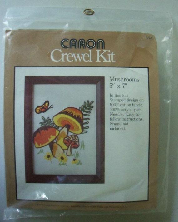 Vintage Caron Crewel Embroidery Kit Mushrooms 5 X
