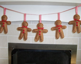 Handmade felt gingerbread man garland