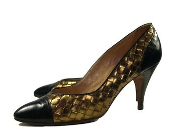 Vintage Maud Frizon Gold Lattice Court Shoes - 1980s