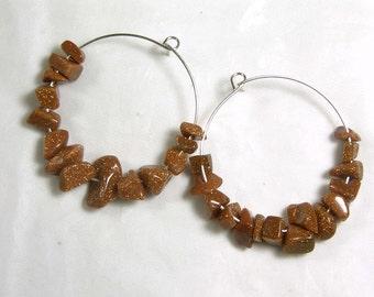 "Cynthia Lynn SPARKLING SIENNA"" Brown Gold Stone Chip Silver Plated Hoop Earrings 1.5"""