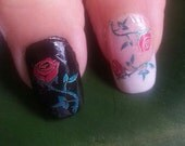 Free Shipping - Metallic RED ROSES Nail Art (RRM) Waterslide Transfer Decals - Not stickers or vinyl