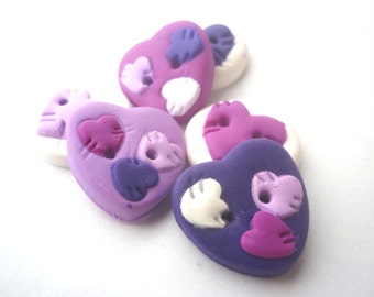 Polymer clay buttons.Heart shaped buttons-Heart patchwork buttons handmade with polymer clay