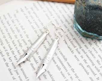 Industrial Jewelry/ Funky Earrings/ Silver Dangle Earrings with Dip Pen Nibs/ Silver Drop Earrings/ Gifts for Writers/ Gift for Her