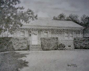 """Custom home portrait, House portrait, Drawing of house, House drawing, Home portrait, Custom art, Custom portrait, 8""""x10"""""""