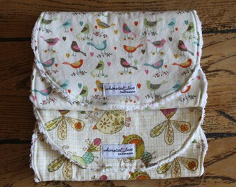 Set of 2 Burp Cloths - Birds