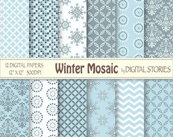 Ice Blue Digital Scrapbook Paper Pack - Winter Mosaic -Instant Download