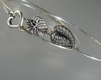 Hearts Bangle Bracelet Set, Three Hearts Silver Bangle Bracelet Set, Bridesmaid Bangle Bracelet (S140S)