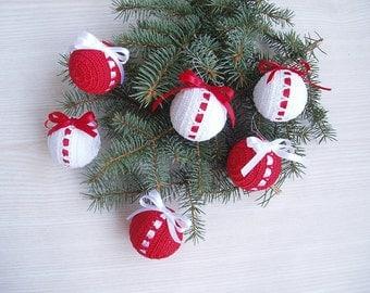6 Christmas Crochet Balls, ООАК Christmas Decoration, Shatterproof  White Red Christmas Ornaments