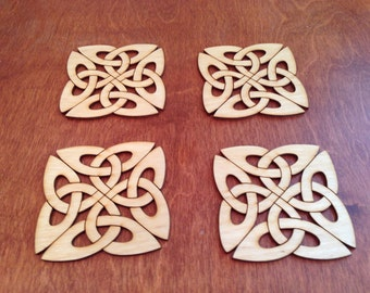 Celtic Knot Wood Coaster Set