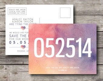 Watercolor Wedding Save the Date Postcard - Customizable - Digital Ready to Print