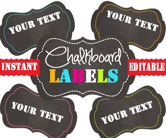 Chalkboard Labels Printable Labels INSTANT by TidyLadyPrintables