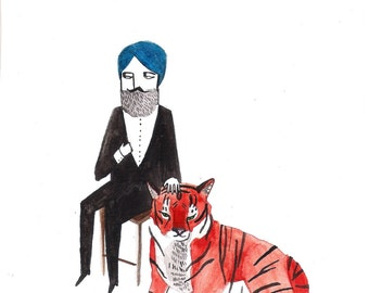 Indian Gent with Tiger