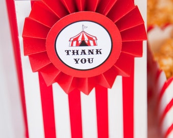 Circus Themed Favour Tags / Thankyou Tags / Big Top Circus Party - INSTANT DOWNLOAD