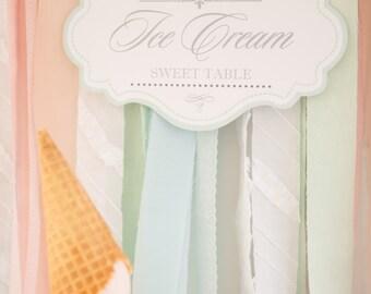 Ice Cream Themed Sweet Table Backdrop Printable / Ice Cream Party / Ice Cream Social