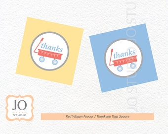Red Wagon Themed Favour Tags / Thankyou Tags / Red Wagon Party - INSTANT DOWNLOAD