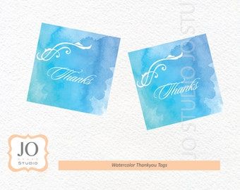 Watercolor Favour Tags / Thankyou Tags / Watercolor Birthday / Wedding - INSTANT DOWNLOAD