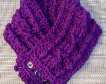 Very Thick and Warm Fisherman's Wife Scarf Denver Rocky Purple with Buttons Made to Order