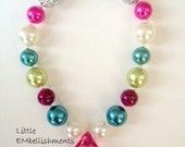 Blue,Pink,Green,Pearl,Animal Print, Toddler, Girl Chunky Necklace, Bubblegum Necklace